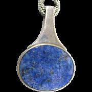 Modernist Sterling Silver Lapis Pendant Necklace Danish Niels Erik From