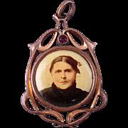 Victorian Art Nouveau Photo Pendant Goldtone - Celluloid Portraits