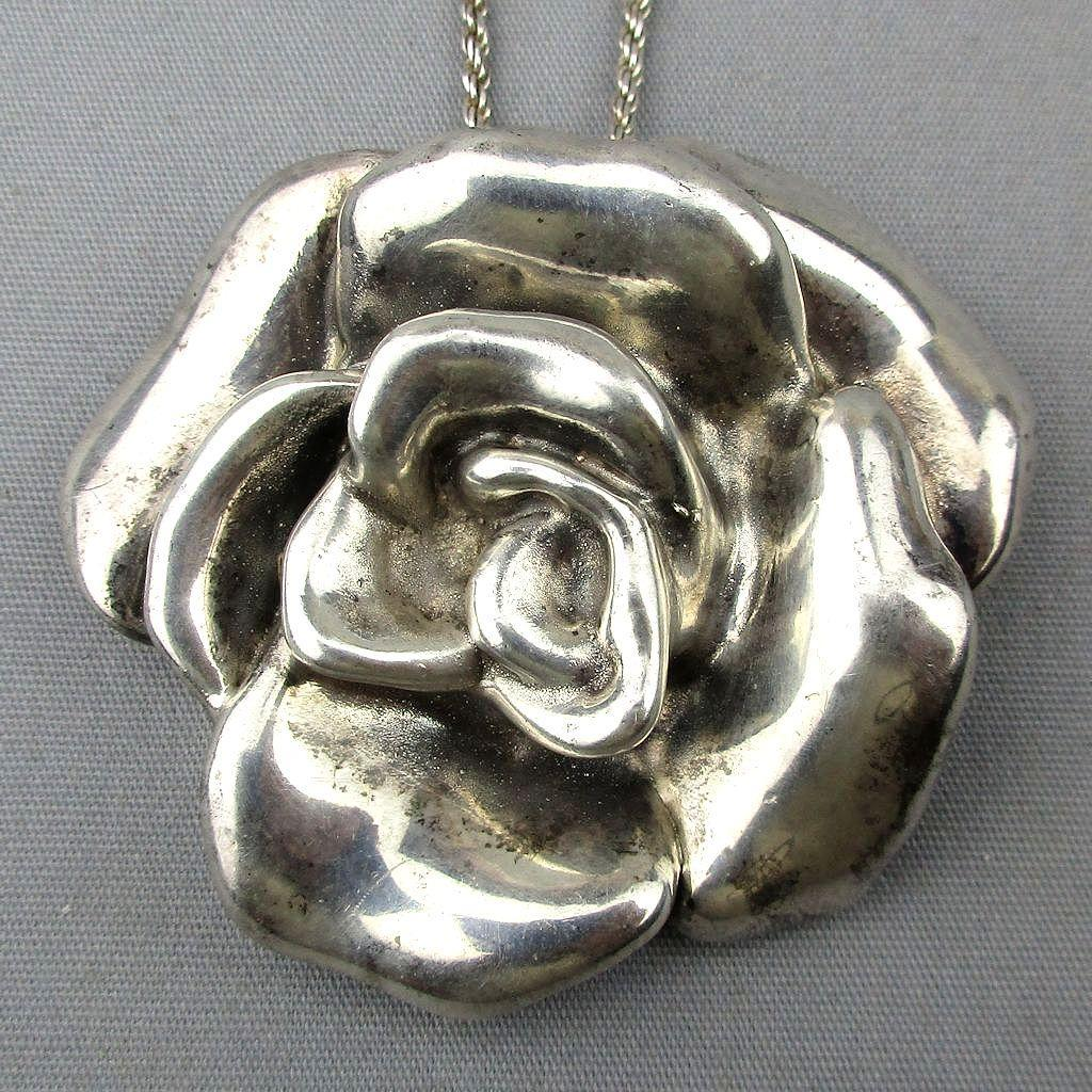 Big Puffy Sterling Silver Rose Flower Pin Pendant Electroform 925 Lost Wax