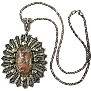 Big Filigree Pendant w/ Coral Jasper Stone on 925 Snake Chain Necklace