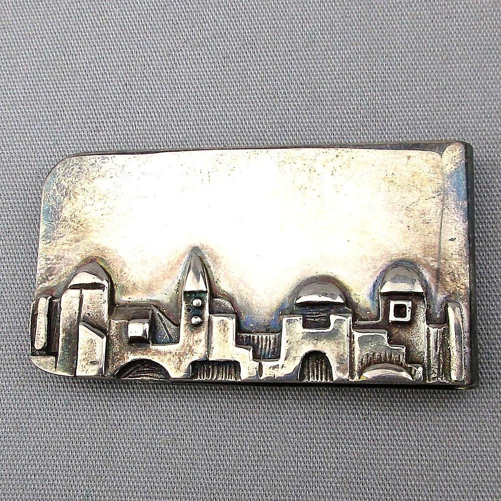 Judaica Sterling Silver Money Clip Israel Jerusalem Skyline Hand Signed