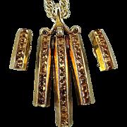 Modernist Whiting & Davis Pendant Necklace Earrings Set - Invisible Set Rhinestones