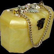 Vintage Plastic Lucite Box Handbag w/ Seashells Pearls Rhinestones Lid