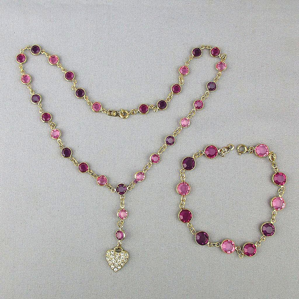 Swarovski Crystal Necklace Bracelet Set w/ Heart