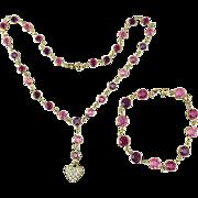 Swarovski Crystal Necklace Bracelet Set w/ Heart