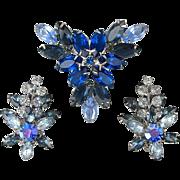 Vintage Blue Rhinestone Flower Cluster Pin Brooch / Earrings Set