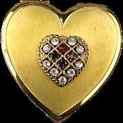 Vintage Heart Shaped Compact w/ Rhinestone Top - Powder or Pill Box