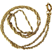 Vintage 14K Yellow Gold Rope Chain Necklace