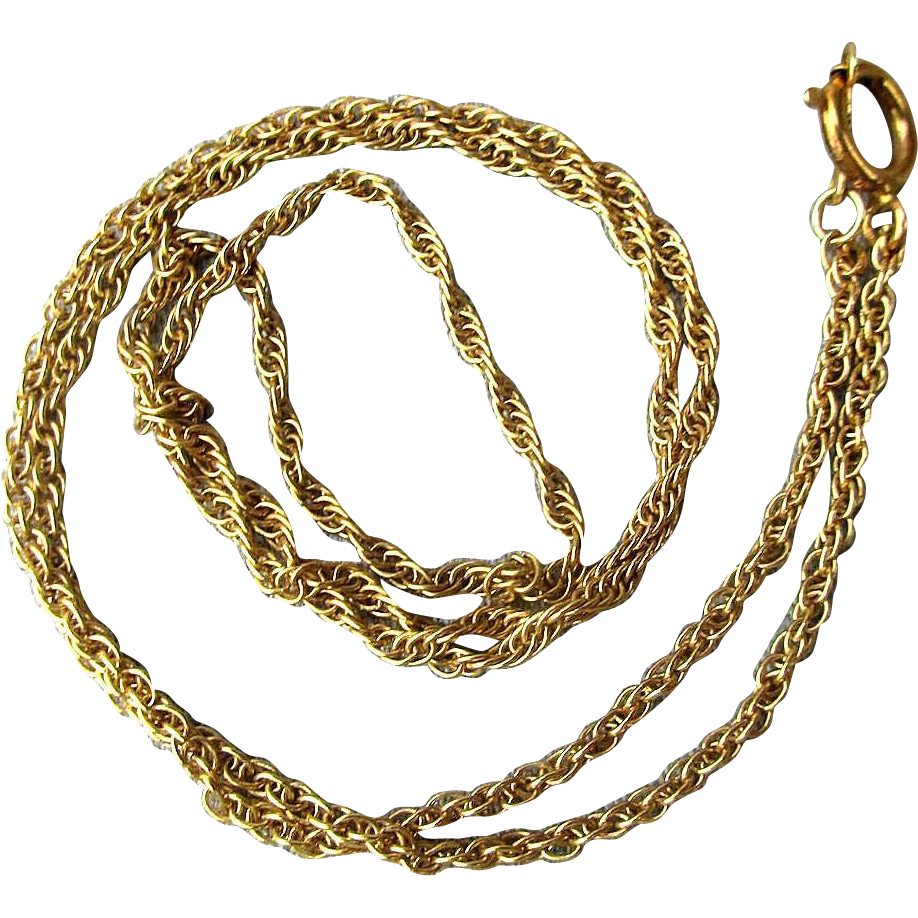 vintage 14k yellow gold rope chain necklace from
