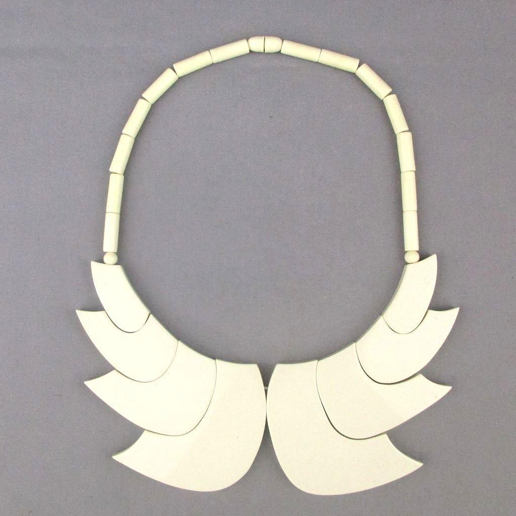 French GUILLEMETTE L'HOIR - PARIS Galalith Necklace Modernist Wings
