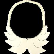 French GUILLEMETTE L'HOIR - PARIS Galalith Necklace Modernist Wings