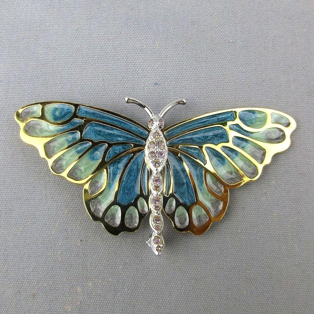 KJL Plique-a-Jour Butterfly Pin Brooch w/ Crystal Enamel Kenneth J. Lane