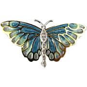 KJL Plique-a-Jour Butterfly Pin Brooch w/ Crystal Enamel Kenneth J. Lane