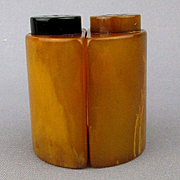 Art Deco Bakelite Marbled Yellow Butterscotch Salt & Pepper Set