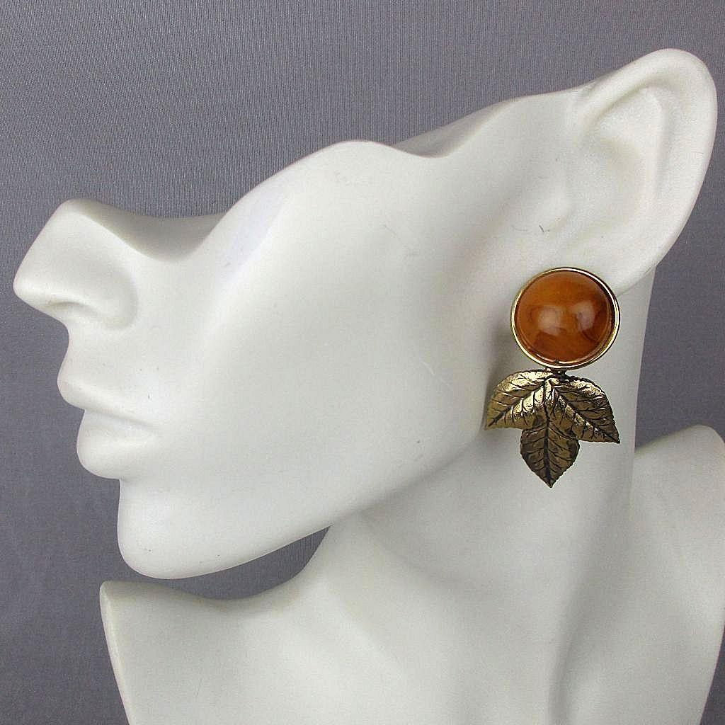 Vintage Bakelite Gold Leaf Earrings