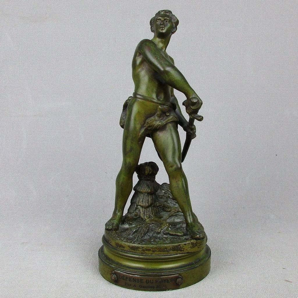 French Bronze Figural Sculpture Le Defense du Foyer by Adrien Etienne Gaudez