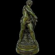 French Bronze Figural Sculpture Le Defense du Foyer by Adrien Etienne Gaudez