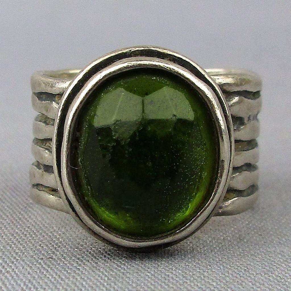 Sterling Silver Bezel Set Green Glass Wide Ring