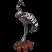 SuHai Chinese Enamel Sterling Silver Flamingo Bird Figurine