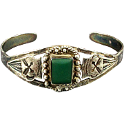 Old Sterling Silver Navajo Cuff Bracelet w/ Green Turquoise