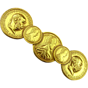 Miriam Haskell Russian Gilded Coin Pin Brooch