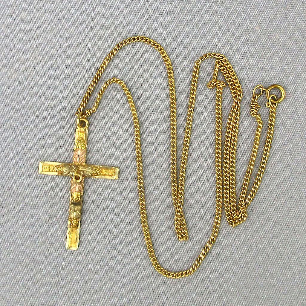 Ornate Black Hills Tri-Color 10K Gold Cross / G.F. Chain Necklace