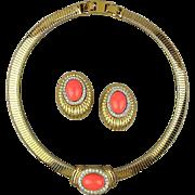Vintage MONET P.E.P. Necklace - Earrings Set w/ Faux Coral Slide - Rhinestones
