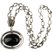 Vintage Sterling Silver VIOR Chain w/ Onyx 925 Pendant Necklace