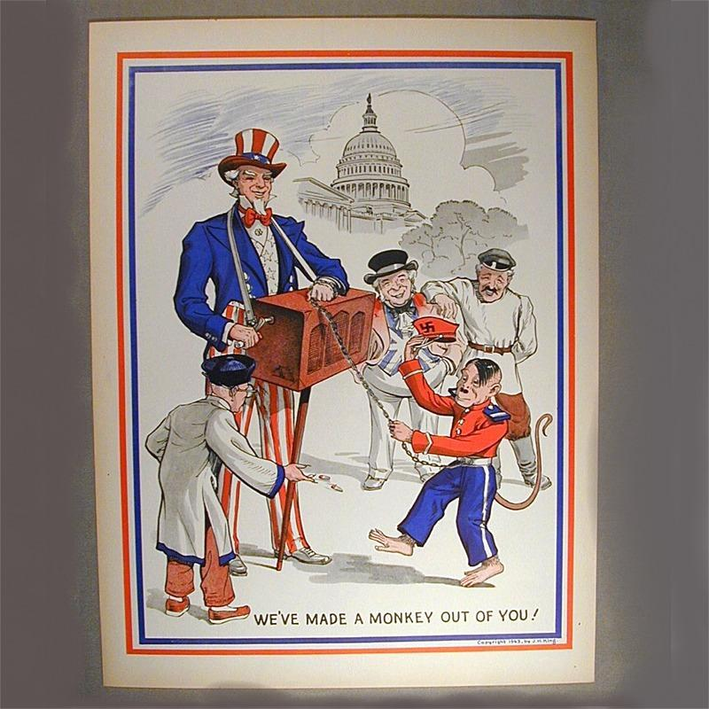 Original 1943 WWII Uncle Sam Propaganda Poster w/ Hitler Monkey