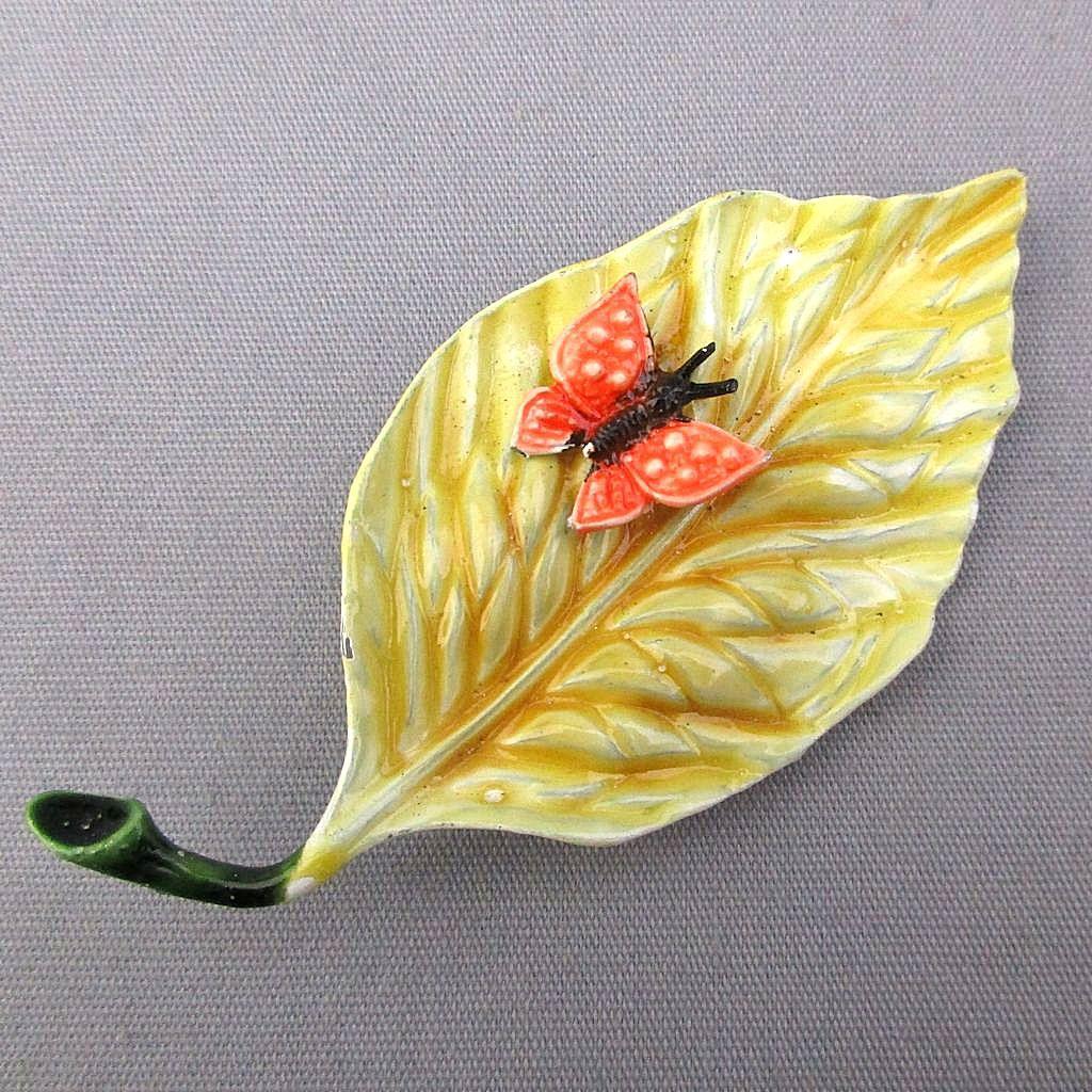 Vintage HAR Enamel Metal Leaf w/ Butterfly Pin Brooch