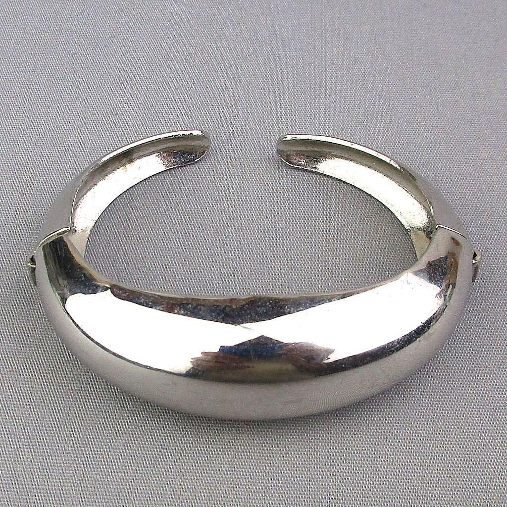 Art Deco CORO Pegasus Hinged Cuff Bracelet Sleek Chrome