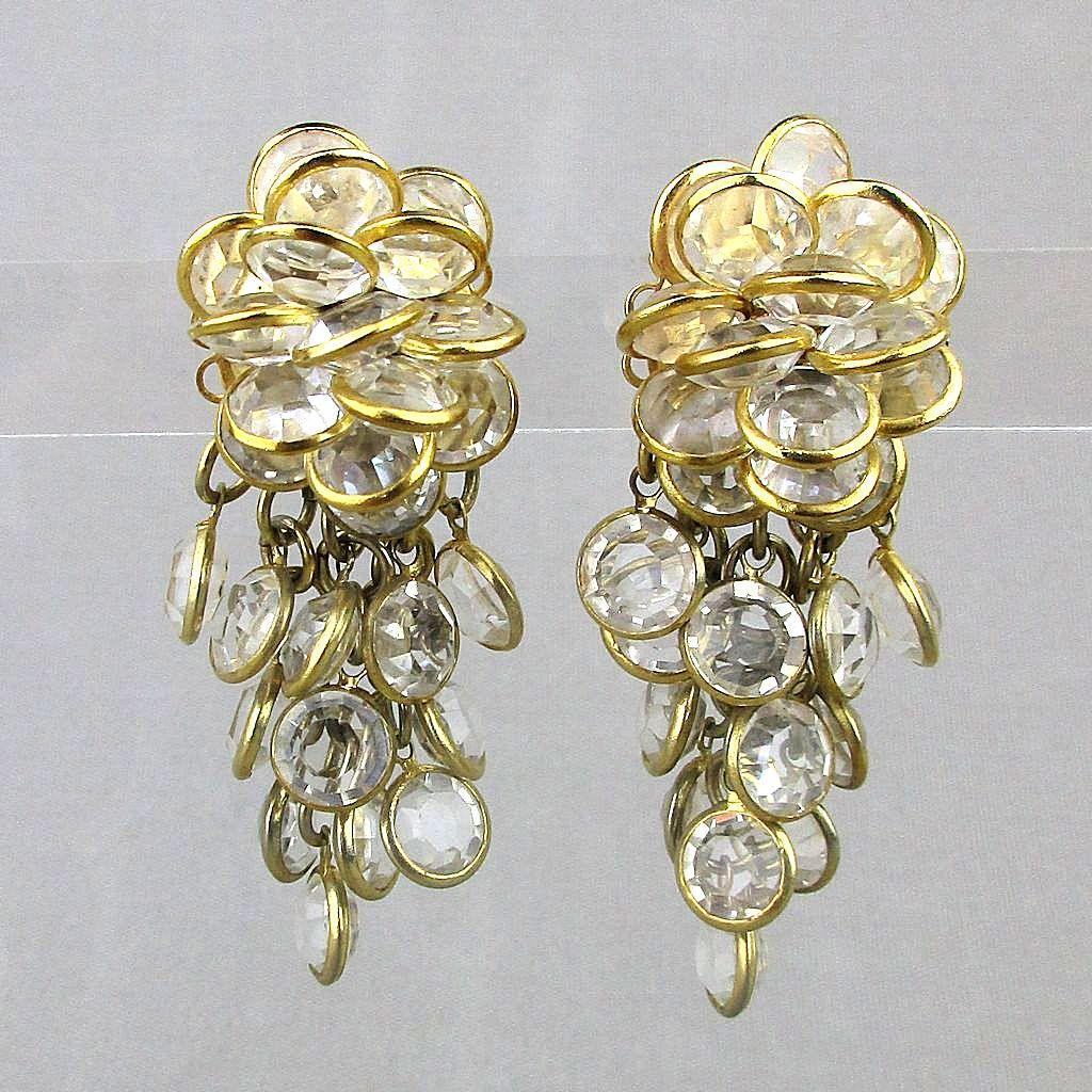 Vintage 1980s Sorrelli Austrian Crystal Dangle Earrings
