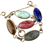 Vintage Gold-Plated Link Bracelet w/ Colorful Gemstones