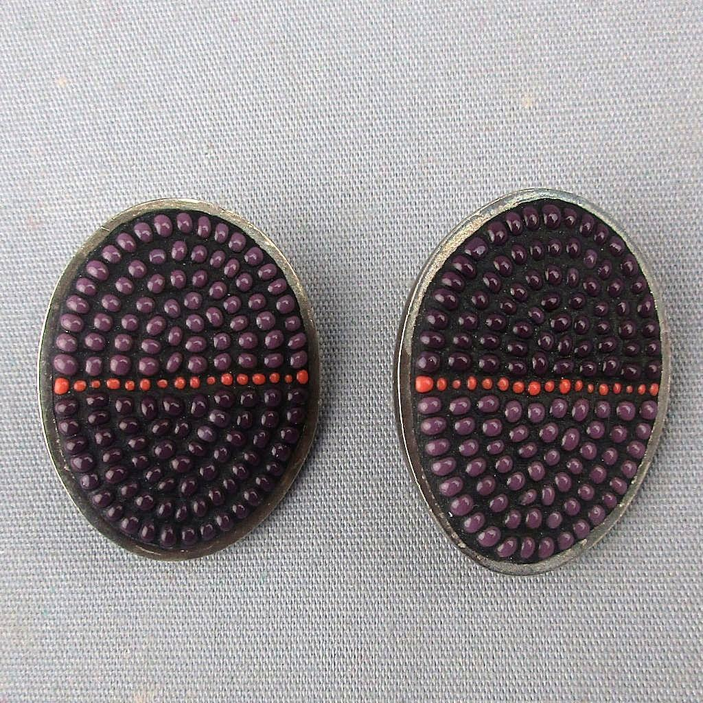 Vintage Mary Kanda Mosaic Bead Sterling Silver Earrings Signed Art
