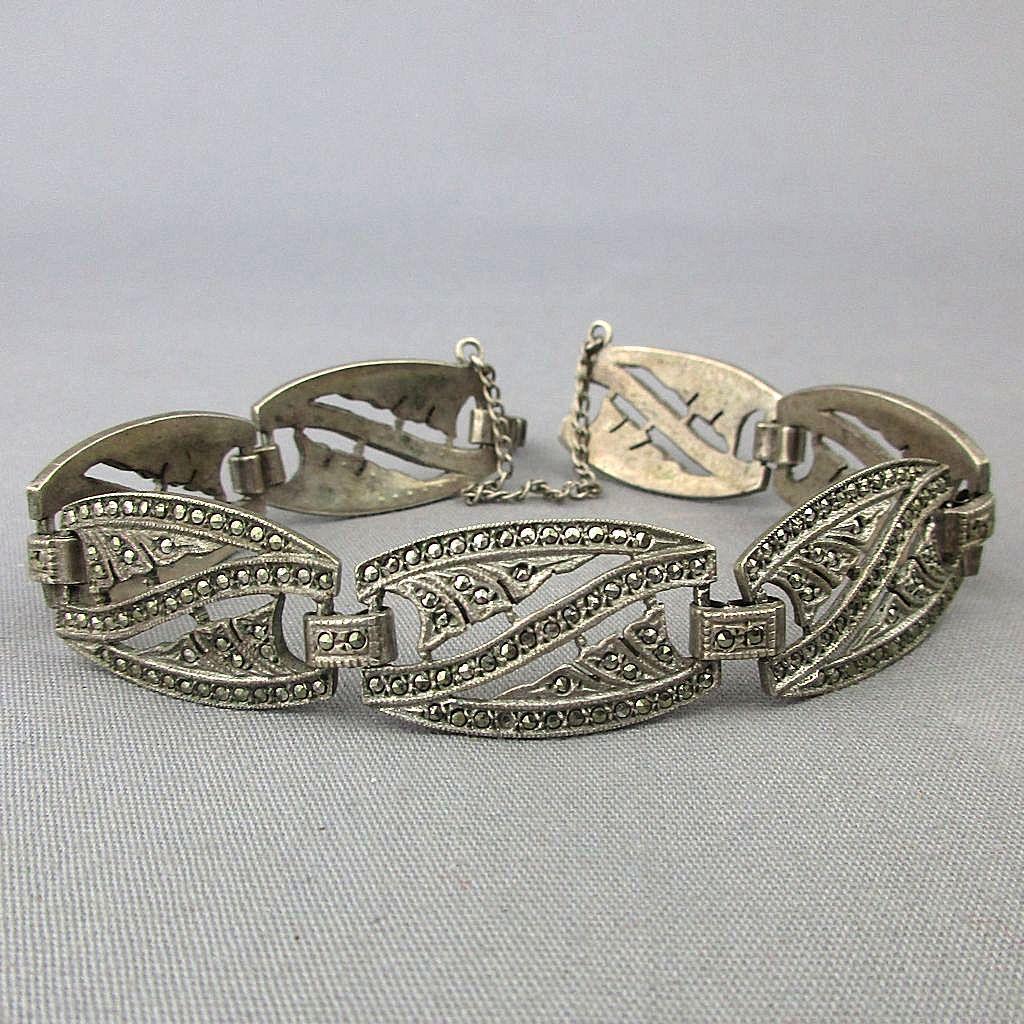 Art Deco Era Sterling Silver Marcasite Link Bracelet