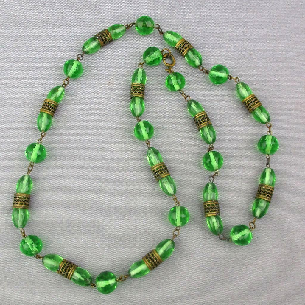 Art Deco Era Czech Glass Bead Necklace w/ Brass Filigree Bands