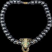 KJL for Avon Panther Necklace Enamel w/ Rhinestones Faux Tahitian Pearls - Kenneth Lane K.J.L.