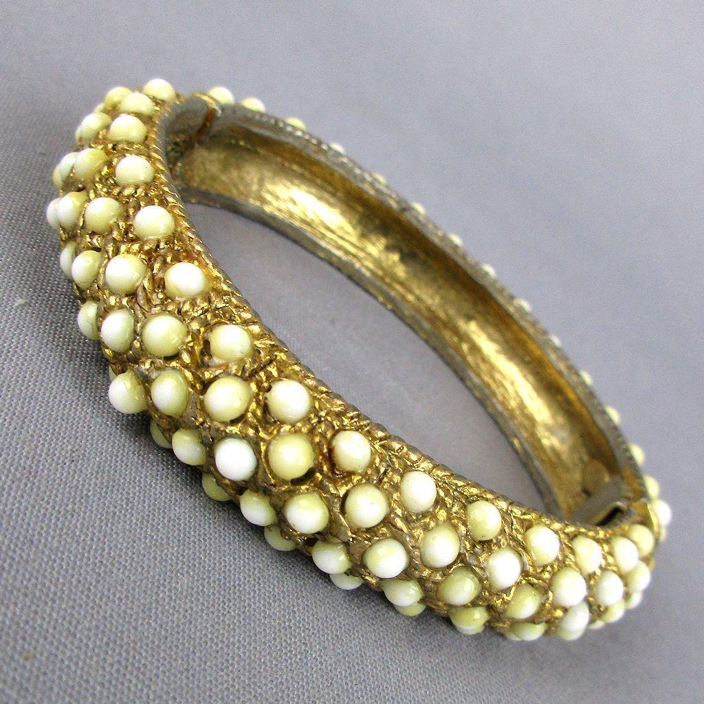 Vintage HOBE Hinge Bracelet w/ White Dot Stones