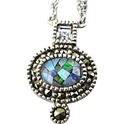 Judith Jack Sterling Silver Marcasite Pendant w/ Opalescent Shell Necklace