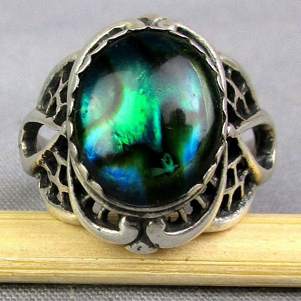 Navajo Signed JW Sterling Silver Ring Opalescent Shell Stone