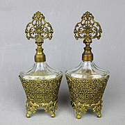 Vintage Ormolu Filigree Glass Perfume Bottles Vanity Pair