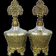 Vintage Ormolu Filigree Glass Perfume Bottles Vanity Pair