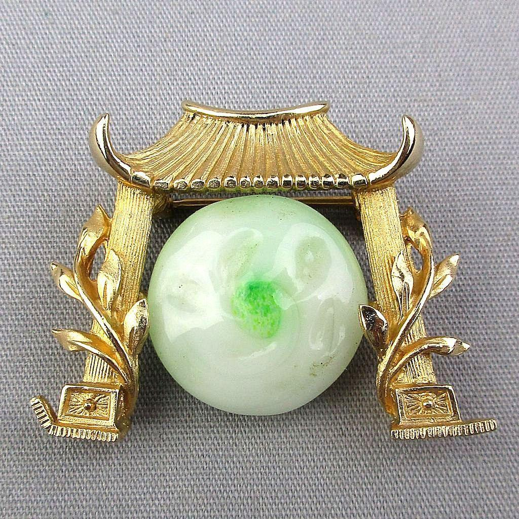 Vintage Marvella Asian Pagoda Temple Bell Pin w/ Peking Jade Glass