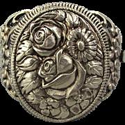 Vintage Big Hinged LOCKET Bracelet - A Floral Wonder