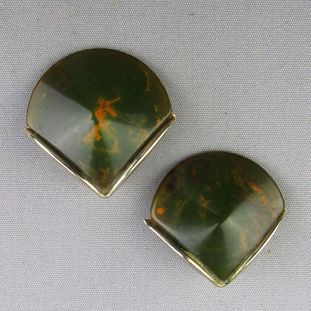 Art Deco Bakelite Swirl Fan Shaped Earrings