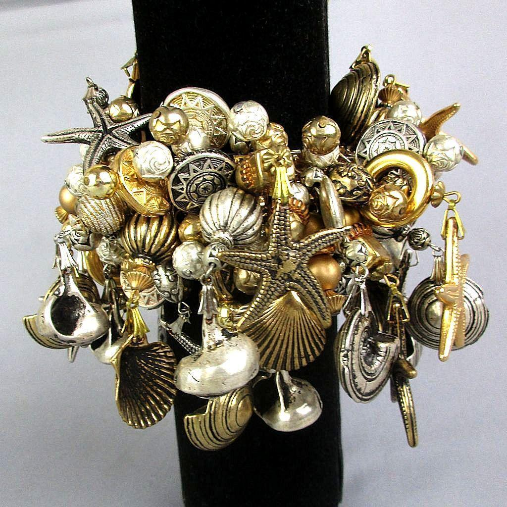 Huge 1980s Expansion Bracelet - Beach Theme Shells - Starfish
