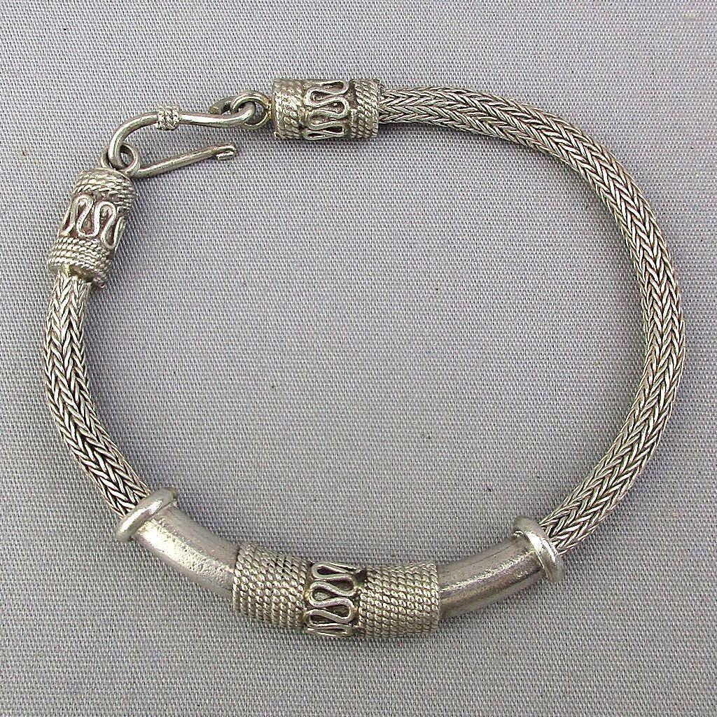 Ethnic Tribal Sterling Silver Mesh Bracelet - Woven Rope