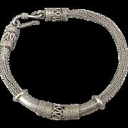 Ethnic Tribal Sterling Silver Mesh Bracelet - Woven Rope