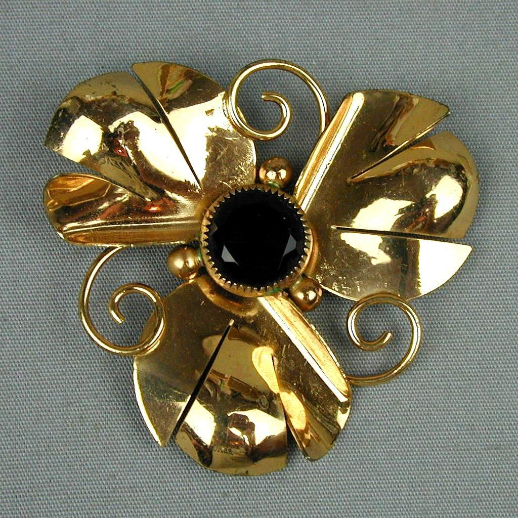 Vintage Gold Vermeil on Sterling Silver Flower Pin w/ Red Stone