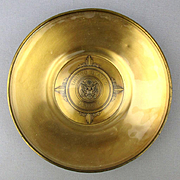 Vintage U.S. Senate Brass Bowl Plate Ashtray w/ Glass Inlay